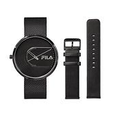 【FILA 斐樂】簡約設計腕錶錶帶套組-極致黑x黑/38-178-003-SET B/台灣總代理公司貨享兩年保固