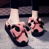 增高跟棉拖鞋女2020新款秋冬室內居家用蝴蝶結棉鞋時尚外穿毛毛鞋 美眉新品
