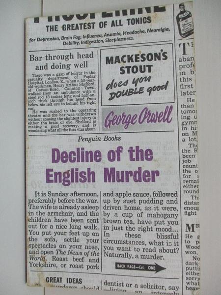【書寶二手書T7/原文小說_BBP】Great Ideas: Decline of The English Murder_George Orwell