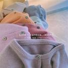 重工花染!神仙紫lime貝殼扣打底加厚針織開衫女短款內搭毛衣外套 宝贝計劃