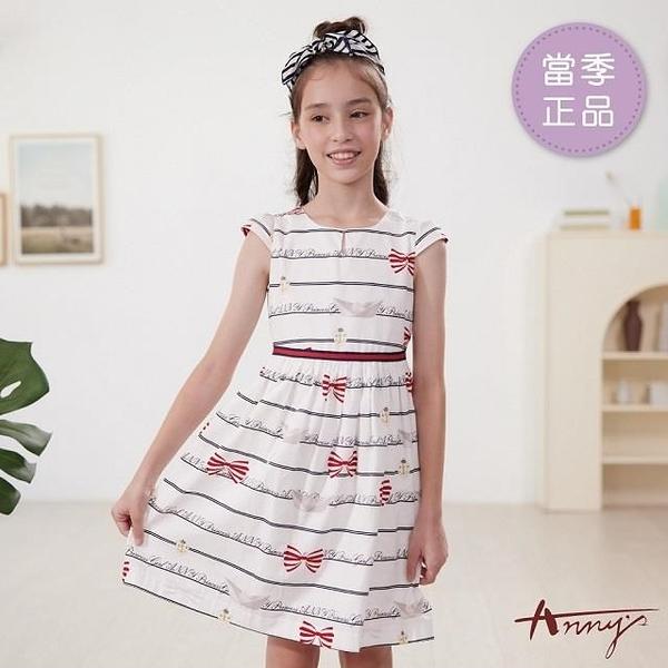 【南紡購物中心】【Annys安妮公主】歐式英倫風領口挖洞春夏款綁帶洋裝1148 藍色12