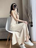 雪紡吊帶連身裙女春夏V領開叉過膝長裙內搭打底法式氣質裙子 秋季新品