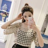 蕾絲上衣 韓版新款蕾絲鏤空網紗上衣性感氣質套頭罩衫潮LJ8664『miss洛羽』