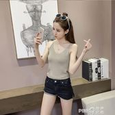 初夏季韓版夜店女裝性感打底衫金絲V領薄針織吊帶背心  【PINK Q】