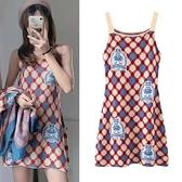 高端性感菱形格紋吊帶連衣裙N2F-A10-A胖妞衣櫥