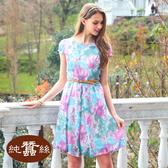 【岱妮蠶絲】柔美流行蠶絲短袖洋裝