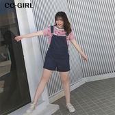 中大尺碼  吊帶連身短褲~共兩色 - 適XL~4L《 66529K 》CC-GIRL