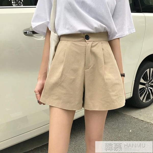 2021新款韓版高腰顯瘦工裝五分褲闊腿褲學生小個子休閒短褲女 萬聖節狂歡