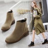低跟短靴-歐美簡約絨面鬆緊帶女馬丁靴2色73is30[時尚巴黎]