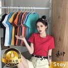 【Stay】韓版基本款素色百搭圓領寬鬆短袖上衣 短袖t恤 女裝 顯瘦上衣 衣服 寬鬆上衣 素T【T222】