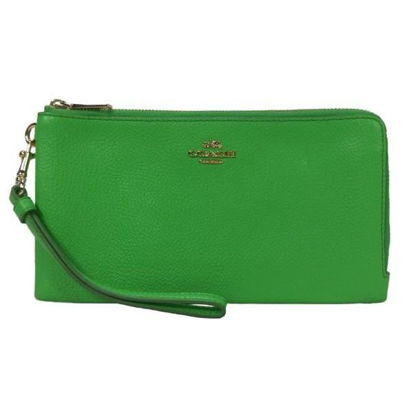 米菲客 COACH 經典馬車LOGO設計 時尚素面款 荔枝紋牛皮材質 雙拉鍊 手拿包 長夾(綠)53089