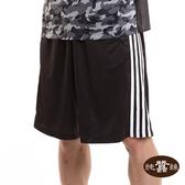 【岱妮蠶絲】撞色直條籃球運動蠶絲短褲(黑)