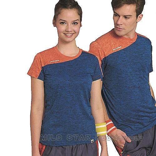 MILD STAR 男女吸濕排汗短T恤-AS1811-05-77-寶藍麻花