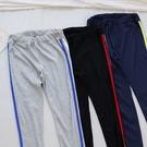 洋芋妹-正韓中腰鬆緊腰圍側邊線條休閒棉質長褲 3色【SA545641】