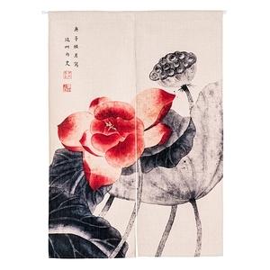HONEY COMB 中國古典水墨荷花棉麻門簾 風水簾GT-3610