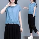 棉麻兩件套 棉麻套裝2021年夏季新款短袖t恤女韓版寬鬆兩件套顯瘦百搭七分褲