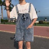 吊帶褲女裝夏新款韓版網紅牛仔褲子學生時尚法式口袋寬鬆背帶褲短褲子潮