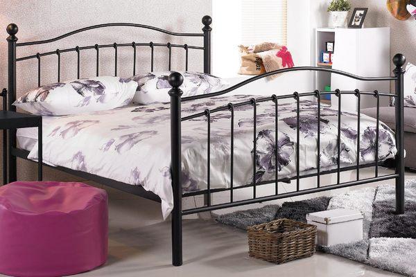 【森可家居】凱特兒5尺黑色鐵床床台 7JX84-2 雙人 床架 北歐鄉村風