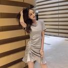 夜店洋裝 心機裙子設計感顯瘦修身氣質抽繩夜店性感連身裙2021夏裝新款個性 晶彩