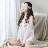 透明薄紗性感睡衣情趣內衣女士露肩吊帶透視寬鬆蕾絲網紗睡裙 『歐韓流行館』