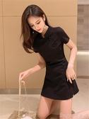 旗袍2020新款時髦女神范小黑裙洋氣高腰兩件套裝改良旗袍式復古連身裙 suger