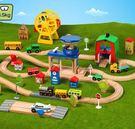 電動小火車套裝軌道 木制兒童益智拼裝玩具...