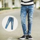 牛仔褲 中藍刷色小抓破彈性褲頭合身牛仔褲...