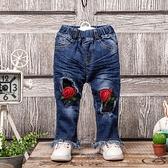 兒童牛仔褲 玫瑰抽鬚 丹寧牛仔長褲 CH5336 好娃娃