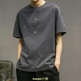 男士短袖t恤潮流潮牌印花半截袖夏季新款純棉寬鬆體恤男裝上衣服 [快速出貨]