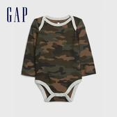 Gap嬰兒 布萊納小熊系列 時尚迷彩華夫格針織長袖包屁衣 617046-綠色迷彩
