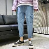 牛仔褲男春夏牛仔褲男超火的帥t工裝褲子潮牌韓版潮流同款抖音九分 多色小屋