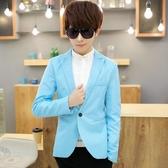 西裝外套男 夏天韓版7分修身小西裝男士青少年七分袖西服粉色中袖潮男小外套 毅然空間