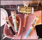 自拍棒 韓國創意個性卡通迷你貓咪手機支架拍照線控自拍棒自拍通用型flb103【棉花糖伊人】
