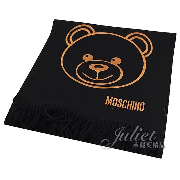 茱麗葉精品【全新現貨】MOSCHINO 30627 M2094 泰迪熊臉羔羊毛流蘇圍巾.黑