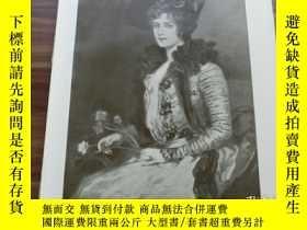 二手書博民逛書店【罕見】1890年平版印刷畫 《康乃馨的女士》dame mit