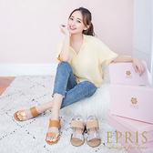 現貨 春夏新款 韓版皮革雙帶金屬感平底增高涼鞋 休閒穿搭必備 版型偏小 21-26 EPRIS艾佩絲-時尚金
