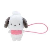 小禮堂 帕恰狗 造型絨毛彈力髮圈 玩偶髮束 絨毛髮圈 (粉白 全身) 4550337-97642