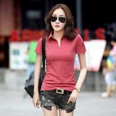 短袖T恤 夏季polo衫短袖T恤女士純棉V領體恤純色有領打底衫韓版修身翻領潮