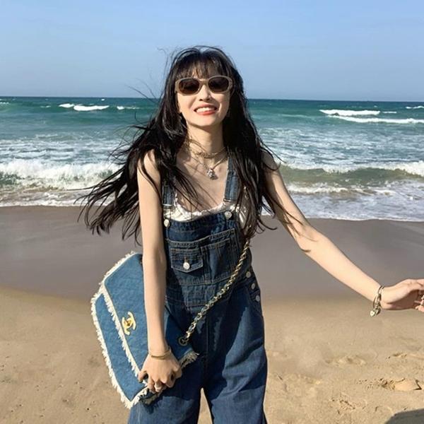 吊帶褲 牛仔吊帶褲女2021夏新款韓版寬鬆小個子復古港味鹽系網紅直筒連身