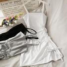 吊帶洋裝 2021新款抽繩褶皺小個子修身顯瘦吊帶裙女純色繫帶性感包臀連衣裙 夢藝