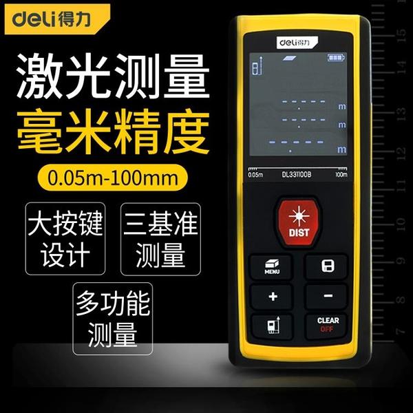 得力激光測距儀高精度手持激光尺電子紅外線測量尺量房儀測量儀器