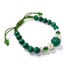 純銀玫瑰花孔雀石圓珠與綠瑪瑙轉珠中國結手環