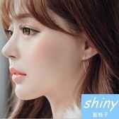 【DJX3403】shiny藍格子-簡約正方形耳環