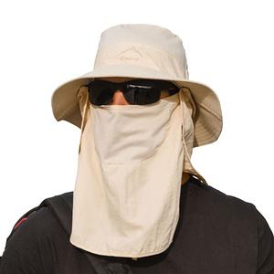 PUSH!戶外用品防曬帽子遮陽帽漁夫帽釣魚透氣遮臉帽H34卡其色