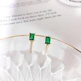 【NiNi Me】韓系耳環 韓劇德魯納酒店同款 復古優雅珍珠水鑽綠寶石925銀針耳環 耳環 N0496