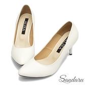 高跟鞋 OL首選簡約尖頭細跟鞋-白