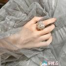 戒指 韓國超美鋯石花朵 氣質寶石 性感INS超仙可調節開口戒指食指戒女 8號店
