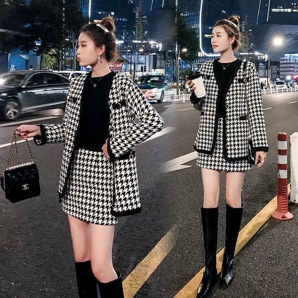 絕版出清 韓系時尚千鳥格毛呢外套包臀裙套裝長袖裙裝