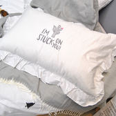 公主風韓版花邊英文字母刺繡白色枕套 荷葉邊繡花純棉單人枕套