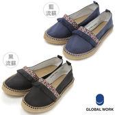 GLOBAL WORK女花朵刺繡格紋素面緞帶草鞋休閒鞋-四色